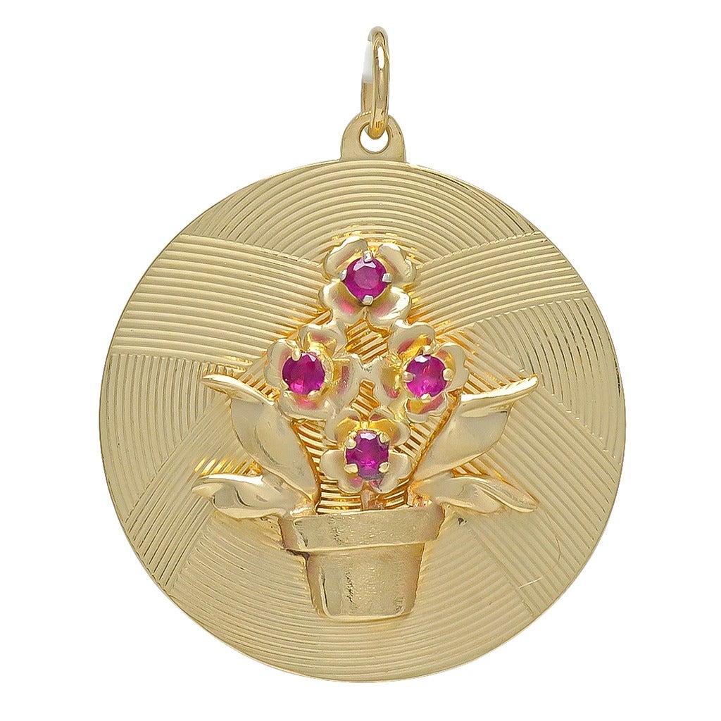Tiffany & Co. Ruby Gold Flower Charm