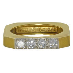 David Webb Square Diamond Gold Ring