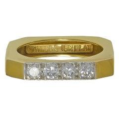 David Webb Square Diamond Gold Ring
