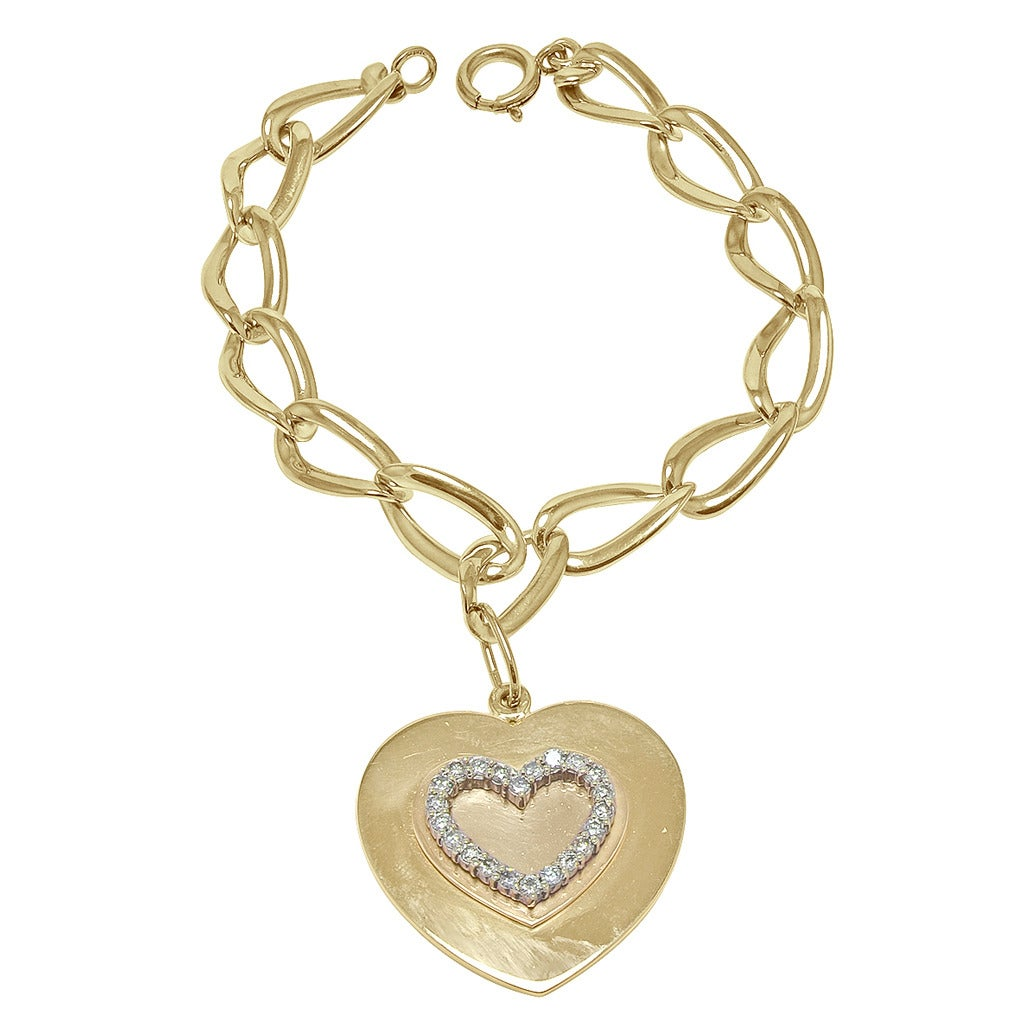 Cartier Gold Link Charm Bracelet With Heart 1