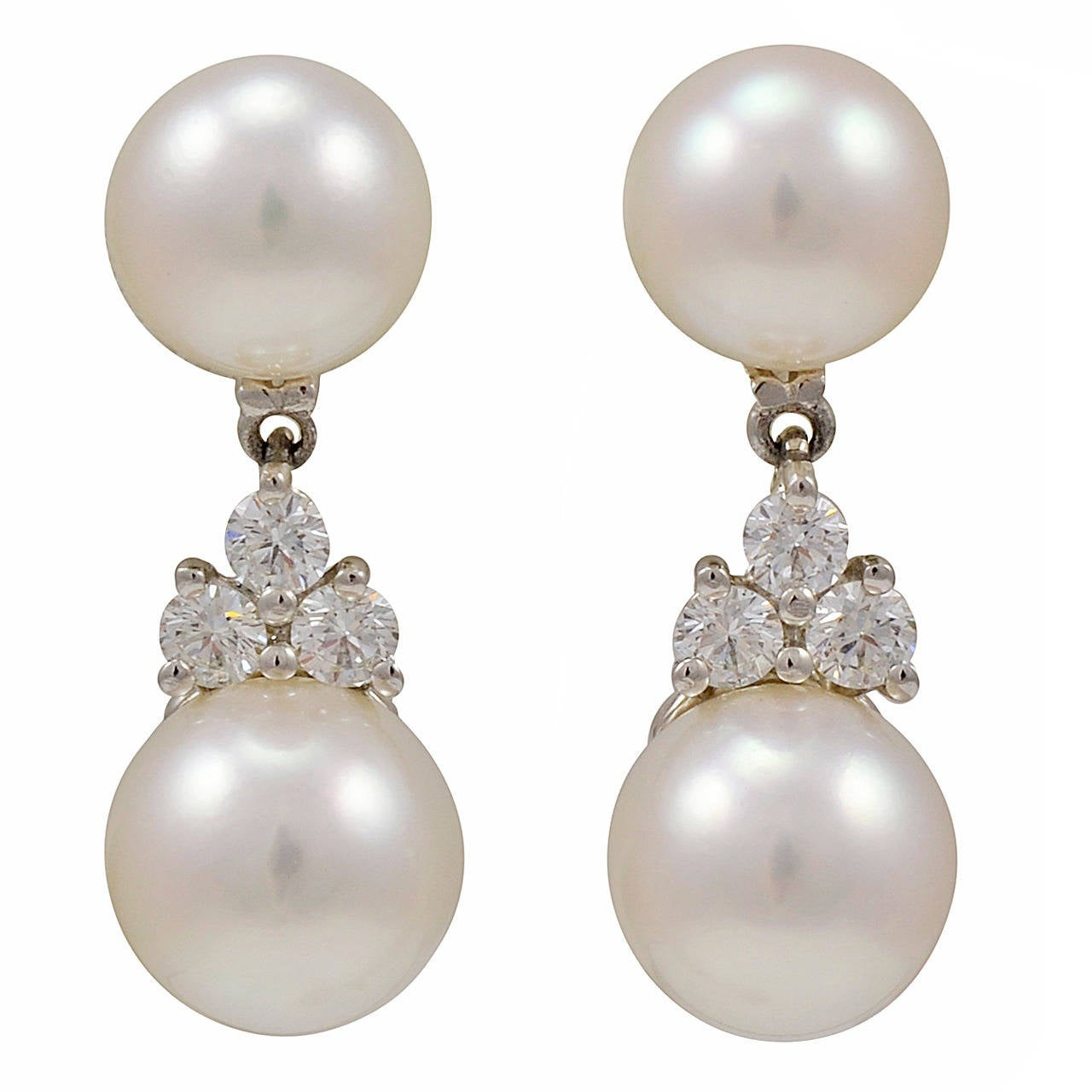 Tiffany Aria Pearl Diamond Platinum Drop Earrings For