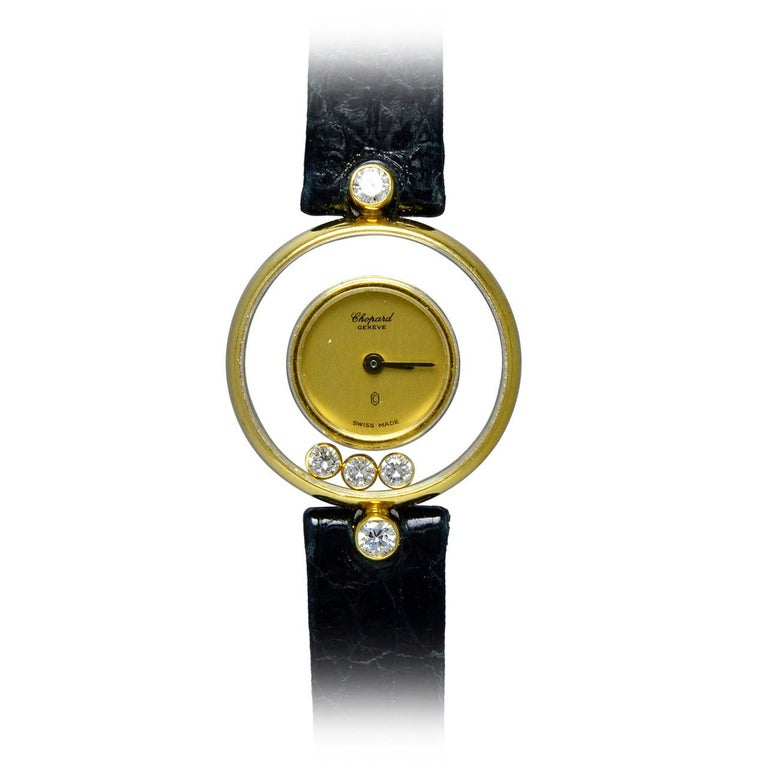 Chopard Lady's Yellow Gold Happy Diamond Quartz Wristwatch For Sale