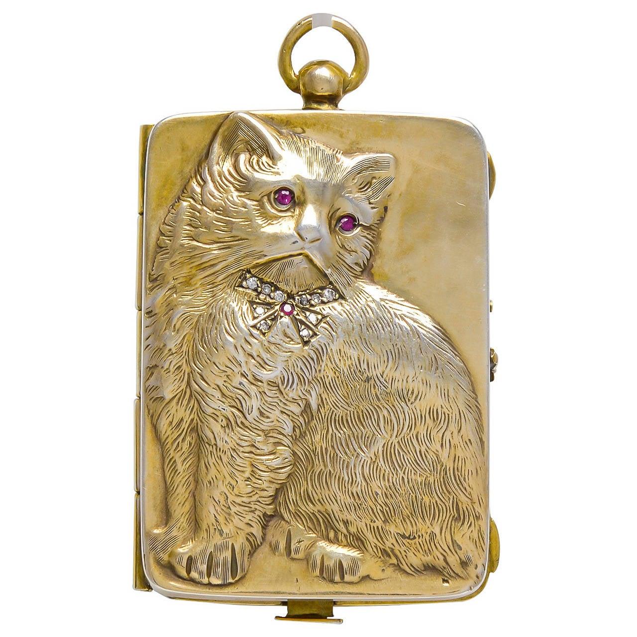 Antique Ruby Diamond Sterling Silver Cat Purse