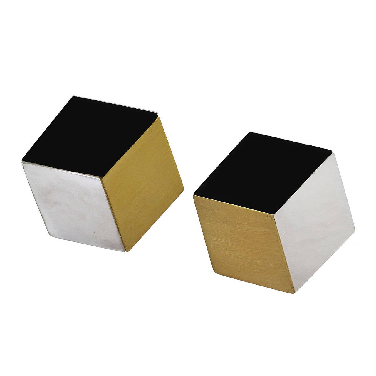 Angela Cummings Onyx Gold & Mother-Of-Pearl Cube Earclips 1