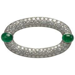 Art Deco  Diamond  Emerald Brooch