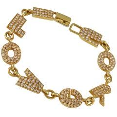 """I Love You"" Diamond Gold Bracelet"