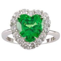 Tsavorite Diamond Platinum Heart Ring