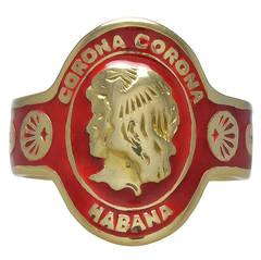 Cartier Enamel Gold Cigar Band Ring