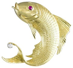 Cellino Leaping Ruby Diamond Gold Fish Brooch