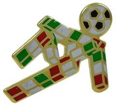 Italian Team Soccer Player Enameled Gold Pin