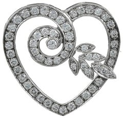 Heart Shaped Diamond Gold Pin