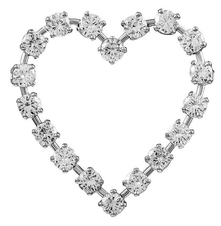 Tiffany & Co. Diamond Platinum Heart Shaped Pin