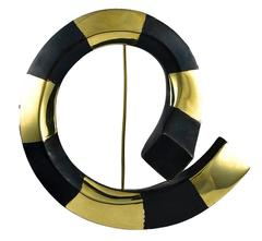 T. Wada Sculptural Gold and Gunmetal Large Brooch