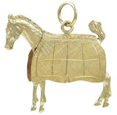 Gold Horse In A Blanket Charm