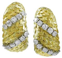 Fabulous David Webb Diamond Gold Earrings