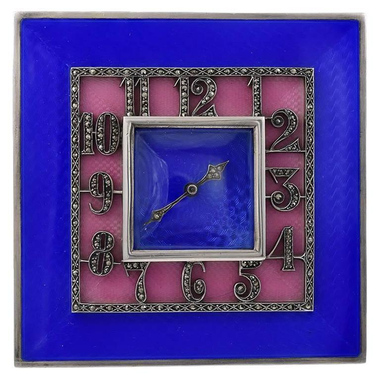 Brilliant Art Deco Sterling and Enamel Clock
