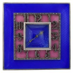 Brilliant Art Deco Sterling and Enamel Clock