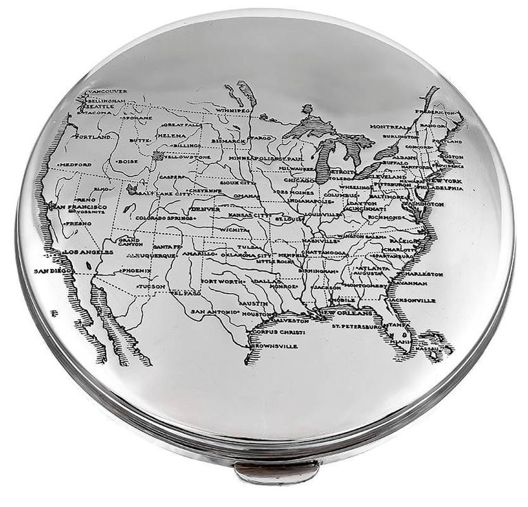 Cartier Sterling Silver United States Map Box For Sale At