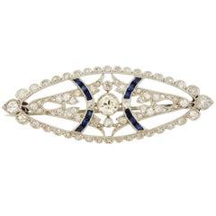 Antique French Sapphire Diamond Platinum Brooch