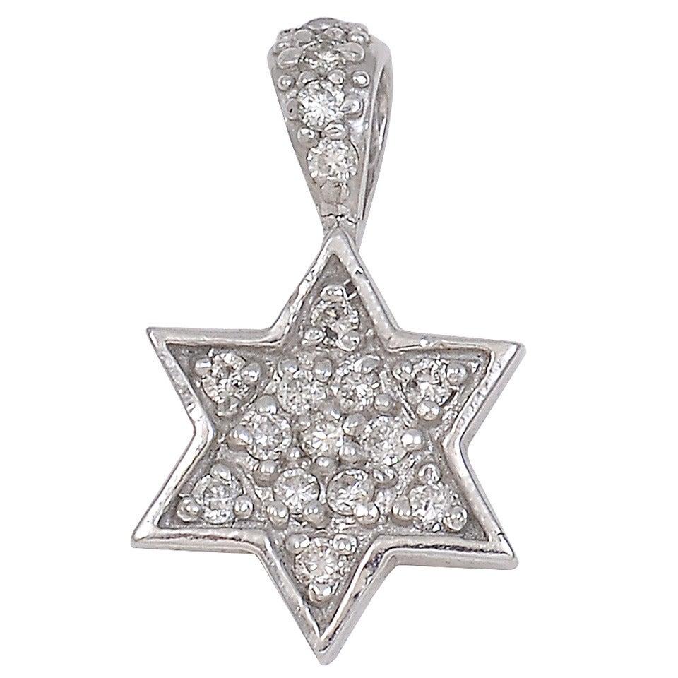 Star of David Diamond White Gold Pendant For Sale