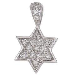 Star of David Diamond White Gold Pendant