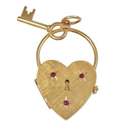 Heart and Key Four Picture Ruby Gold Locket