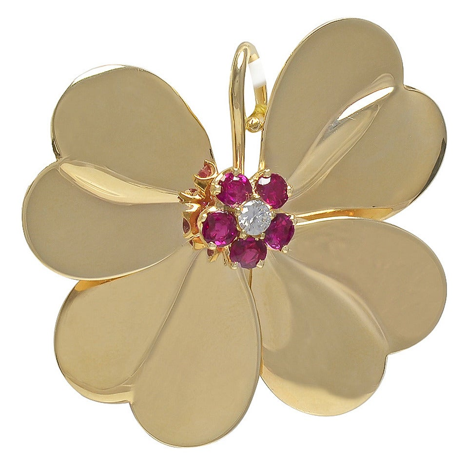 Ruby Diamond Gold Four Leaf Clover Pin