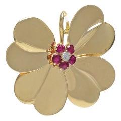 Ruby Diamond Gold Four Leaf Clover Pin