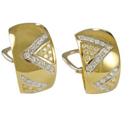 Cartier Diamond Gold Double V Motif Earclips