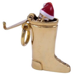 Gold and Enamel Santa's Boot Charm