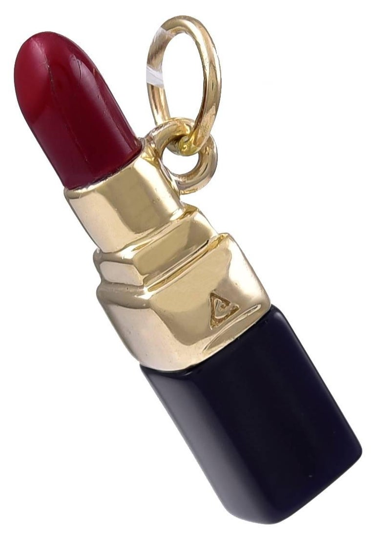 """Large wonderful figural """"lipstick"""" charm.  14K yellow gold, with red and black enamel.  1.25"""" long.  A must for the fashionista.  Alice Kwartler has sold the finest antique gold and diamond jewelry and silver for over forty years."""