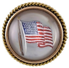 Antique American Flag Gold and Crystal Pin
