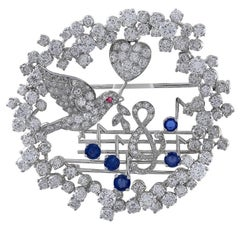 Antique Diamond and Platinum Musical Pin