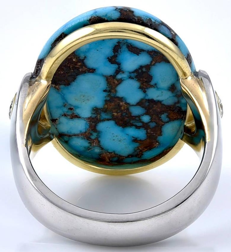 Brilliant Cut Turquoise Gold and Platinum Ring For Sale