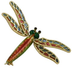 Plique a Jour and Enamel Gold Dragonfly Pin