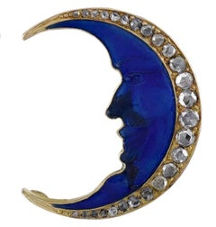 Antique Gold Moon Pin with Diamonds and Enamel