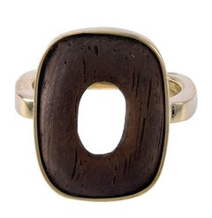 Dinh Van Cartier Gold and Wood Ring