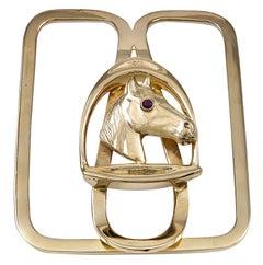 Gold Horse Head Money Clip