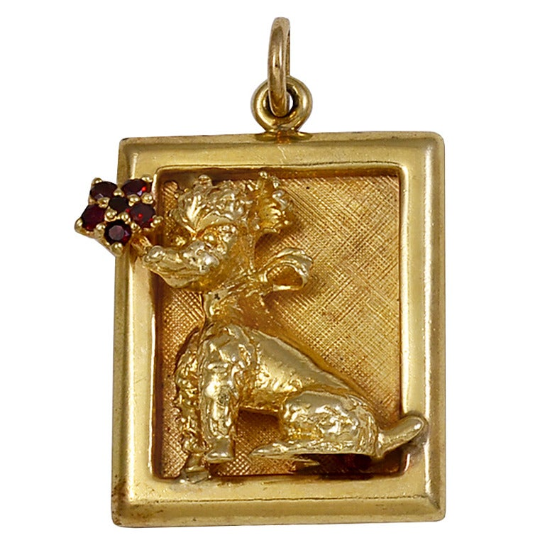 poodle ruby gold charm for sale at 1stdibs