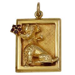 Poodle Garnet Gold Charm