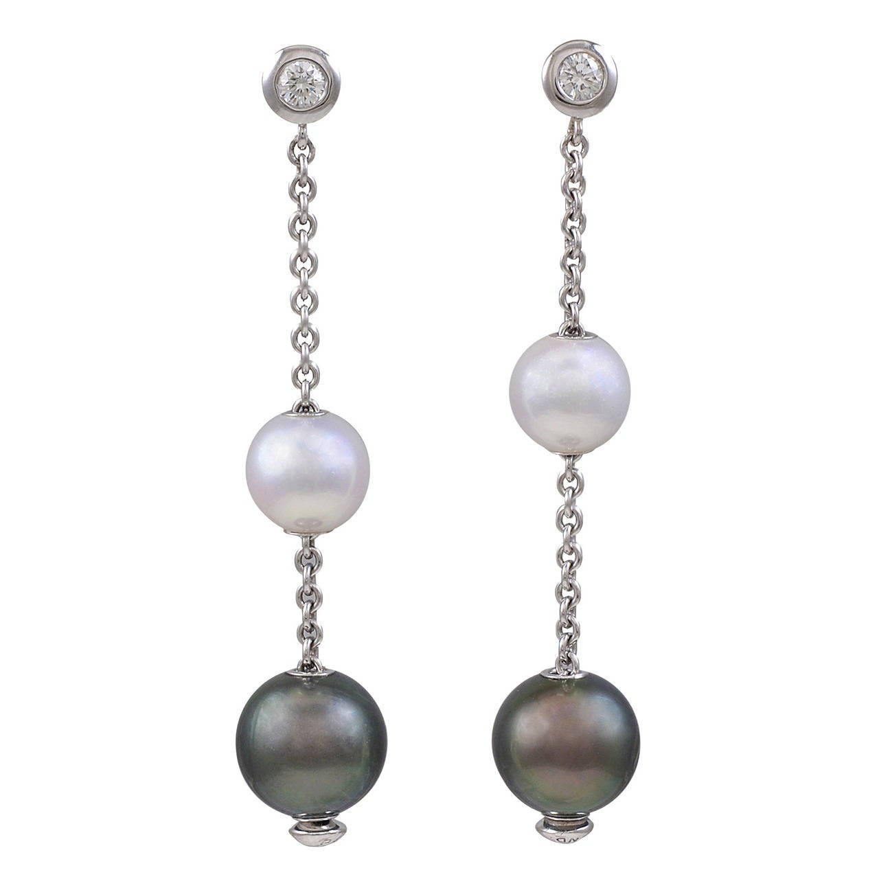 Mikimoto Pearl Diamond Gold Earrings 1