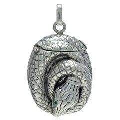 Antique Sterling Silver Snake Match Safe