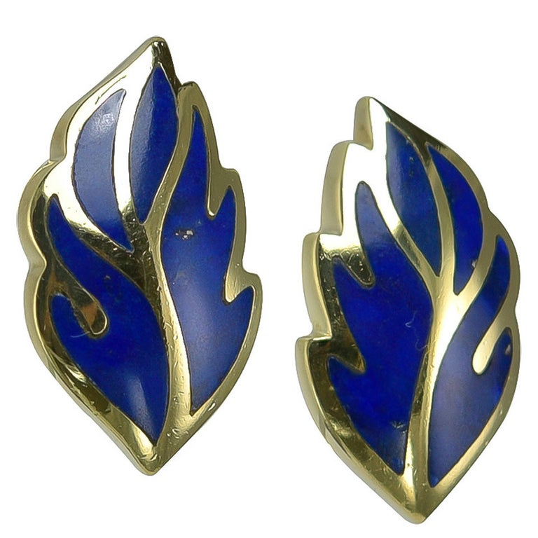 Tiffany & Co. Lapis Gold Ear Clips For Sale