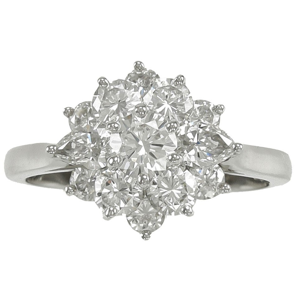 Tiffany & Co. Diamond Platinum Cluster Ring For Sale