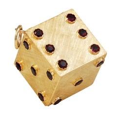 Single Large Garnet Gold Die Charm