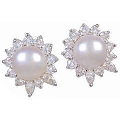 Pearl Diamond Platinum Earrings