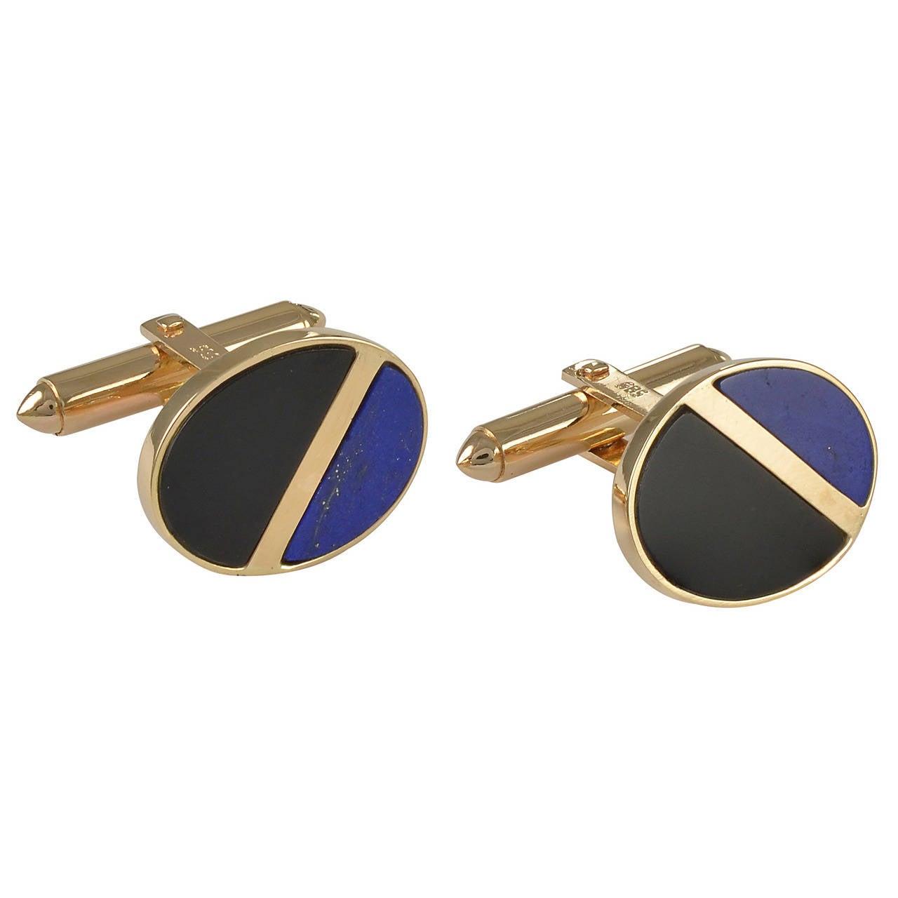 Onyx Lapis Gold Cufflinks