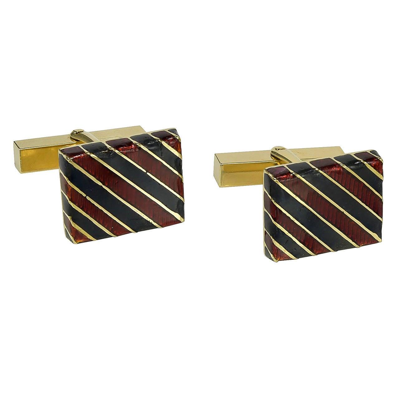 Tiffany & Co. Striped Enamel Gold Cufflinks