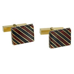 Tiffany & Co. Striped Enamel Gold Cufflinks