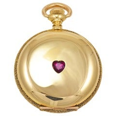 Agassiz Yellow Gold Pocket Watch with Heart-Shaped Ruby